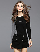 Women's Daily Going out Street chic Fall T-shirt Pant Suits,Color Block Round Neck Long Sleeve Cotton Polyester Micro-elastic