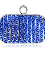 Women Bags Polyester Clutch Buttons for Casual All Seasons Blue Champagne Red