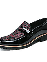 Men's Shoes Leather Fall Winter Formal Shoes Loafers & Slip-Ons Sequin Lace-up For Casual Party & Evening Black/White Red