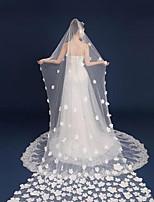 voiles de cathédrale de voile de mariage à un niveau avec des accessoires de mariage de tulle d'applique
