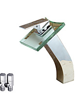 Contemporary Deck Mounted Waterfall Ceramic Valve Single Handle One Hole Chrome , Bathroom Sink Faucet