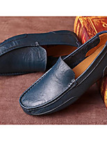 Men's Shoes Cowhide Spring Fall Light Soles Loafers & Slip-Ons For Casual Blue Brown Black