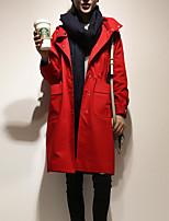 Для женщин На выход Осень Тренч Рубашечный воротник,Уличный стиль Однотонный Обычная Длинный рукав,Другое