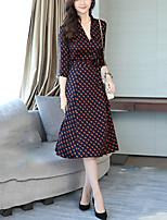Women's Plus Size Going out Sheath Dress,Polka Dot V Neck Midi 3/4 Length Sleeves Polyester Fall Mid Rise Inelastic Medium