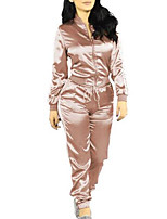 Women's Daily Going out Casual Sexy Winter Fall Pant Suits,Solid Round Neck Micro-elastic
