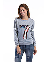 Women's Daily Cute Winter Fall T-shirt,Letter Round Neck Long Sleeves Cotton Medium