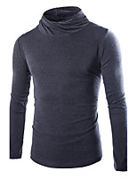 Men's Casual/Daily Regular Pullover,Solid Turtleneck Long Sleeves Cotton Polyester Fall Winter Medium Micro-elastic