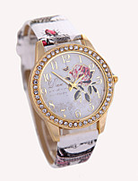 Women's Fashion Watch Wrist watch Quartz Rhinestone Leather Band Flower White Red Brown Grey