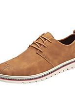 Homme Chaussures PU de microfibre synthétique Printemps Automne Semelles Légères Basket Lacet Pour Décontracté Noir Marron Kaki