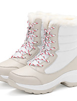 Women's Shoes Fabric Winter Comfort Snow Boots Fashion Boots Boots Lace-up For Casual Outdoor Blue Red Black White