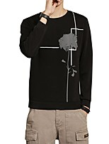 Men's Plus Size Casual/Daily Simple Sweatshirt Print Round Neck Micro-elastic Cotton Spandex Long Sleeve Fall Winter