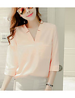 Women's Going out Casual/Daily Simple Summer Blouse,Solid V Neck Half Sleeves Acrylic Polyester Medium