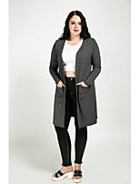 Trench Femme,Couleur Pleine Décontracté / Quotidien Grandes Tailles Rétro Mignon Automne Manches longues Col en V Normal Coton Polyester