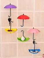3Pcs Colorful Umbrella Wall Hook Key Hair Pin Holder Organizer Decorative Ramdon Color