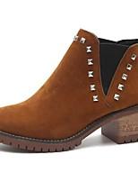 Mujer Zapatos PU Otoño Invierno Botas de Combate Botas Tacón Bajo Dedo Puntiagudo Botines/Hasta el Tobillo Remache Para Casual Negro