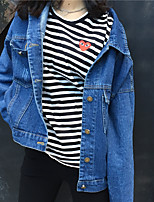 Women's Casual/Daily Simple Fall Denim Jacket,Solid Stand Long Sleeve Regular Cotton
