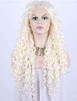 Women Synthetic Wig Lace Front Medium Length Long Curly Wavy Natural Wave Loose Wave Kinky Curly Water Wave Medium Blonde Beige Blonde