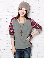 Women's Daily Casual T-shirt,Print Round Neck Long Sleeves Cotton