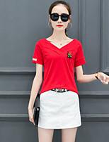 T-shirt Da donna Casual Semplice A strisce Ricamato A V Cotone Manica corta