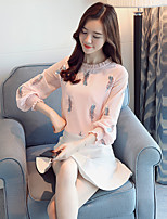 Women's Daily Spring Fall Blouse,Print Round Neck Long Sleeves Polyester Medium