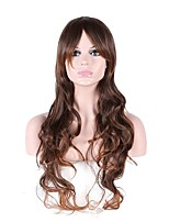 Women Synthetic Wig Capless Long Curly Brown Natural Hairline Layered Haircut Party Wig Natural Wigs Costume Wig