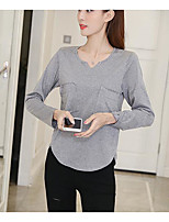 Women's Daily Casual T-shirt,Solid Round Neck Long Sleeves Cotton