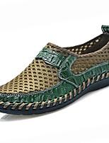 Для мужчин обувь Тюль Полиуретан Весна Осень Удобная обувь Мокасины и Свитер Назначение Повседневные Черный Коричневый Синий Темно-зеленый