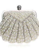 Women Bags All Seasons Polyester Evening Bag Crystal Detailing Pearl Detailing for Wedding Event/Party White Black Beige