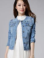 Feminino Jaqueta jeans Casual Simples Outono,Sólido Curto Algodão Decote Redondo Manga Longa