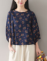 Women's Going out Casual T-shirt,Solid Floral Round Neck 3/4 Length Sleeves Linen