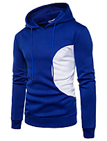 Men's Plus Size Sports Casual/Daily Simple Active Street chic Hoodie Solid Color Block Patchwork Hooded Micro-elastic Cotton Long Sleeve