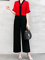 Women's Going out Street chic Summer T-shirt Pant Suits,Solid V Neck Short Sleeve Backless Chiffon Micro-elastic