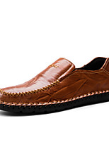 Men's Shoes Real Leather Spring Fall Comfort Loafers & Slip-Ons Split Joint For Casual Dark Brown Light Brown Black