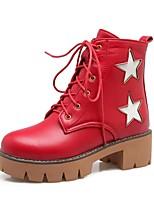 Mujer Zapatos Semicuero Primavera Invierno Botas Camperas Botas de Moda Botas Tacón Robusto Dedo redondo Botines/Hasta el Tobillo Con