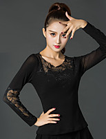 Latin Dance Tops Women's Performance Ice Silk Lace Long Sleeve Tops