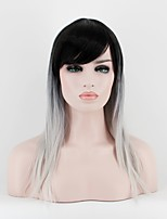 жен. Парики из искусственных волос Без шапочки-основы Средний Прямые Черный/Белый Волосы с окрашиванием омбре Парик из натуральных волос