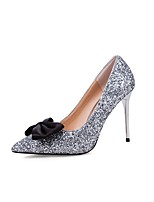Women's Shoes Paillette Summer Fall Basic Pump Novelty Heels Stiletto Heel Pointed Toe Bowknot Sequin For Office & Career Dress Silver