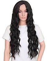 Women Synthetic Wig Capless Long Black Middle Part Natural Wigs Costume Wig