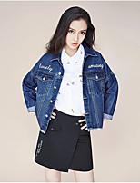 Giacca di jeans Da donna Casual Semplice Autunno,Alfabetico Colletto Altro Standard Manica lunga