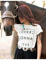 T-shirt Da donna Casual Attivo Estate,Tinta unita Rotonda Cotone Manica corta Sottile
