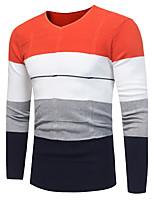 Standard Pullover Da uomo-Taglie forti Casual Semplice Monocolore A V Manica lunga Poliestere Altro Autunno Inverno Medio spessore Media