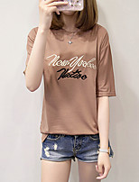 Women's Daily Cute Casual Summer T-shirt,Embroidery Round Neck Short Sleeves Cotton Others Medium