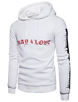Men's Going out Casual/Daily Simple Sexy Hoodie Print Letter Hooded Micro-elastic Cotton Long Sleeve Spring Fall