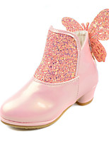 Girls' Shoes Sparkling Glitter PU Fall Winter Comfort Novelty Boots Bowknot Zipper For Wedding Dress Blushing Pink Purple White