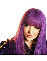 Women Synthetic Wig Capless Medium Length Straight Bright Purple Natural Hairline With Bangs Lolita Wig Party Wig Celebrity Wig Halloween