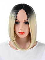 Women Synthetic Wig Capless Short Strawberry Blonde/Bleach Blonde Ombre Hair Party Wig Costume Wig