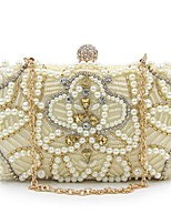 Women Bags All Seasons Polyester Evening Bag Beading Embroidery Pearl Detailing for Event/Party Gold