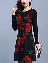 Women's Daily Plus Size Bodycon Sheath Dress,Floral Round Neck Above Knee Long Sleeves Wool Fall Mid Rise Inelastic Medium