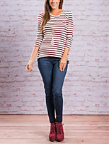 Women's Daily Holiday Street chic T-shirt,Striped Round Neck 3/4 Length Sleeves Polyester