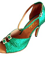 Women's Latin Glitter Sandal Indoor Buckle Customized Heel Green